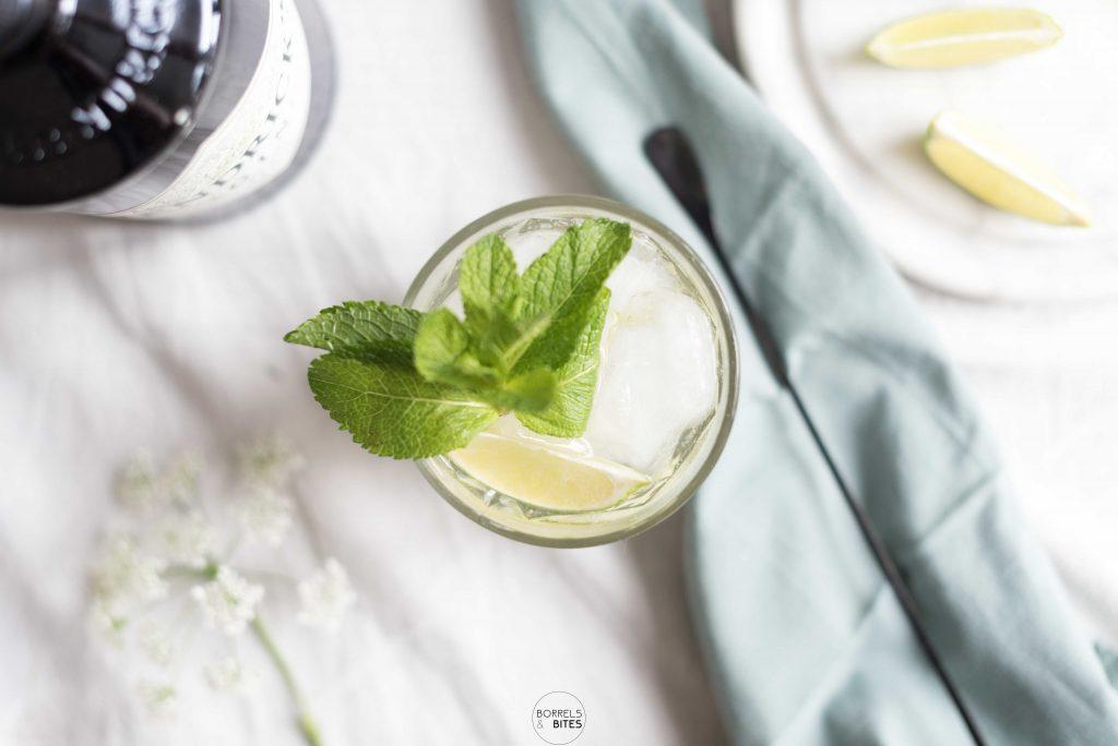 Gin tonic elderflower met limoen en munt